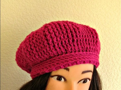 "Crochet Beret hat 20""-22"" How to crochet women's hat tutorial- Designed by Happy Crochet Club"