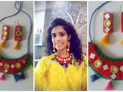Diwali decoration ideas | DIY fabric jewelry | Diwali navratri jewelery making | new craft |  DIY|