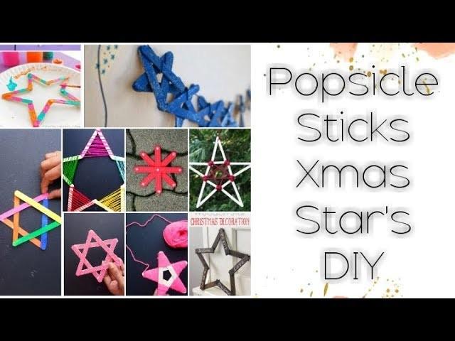 DIY: 12 Easy Christmas Star Ornament Models using Popsicle sticks Tutorial for kids
