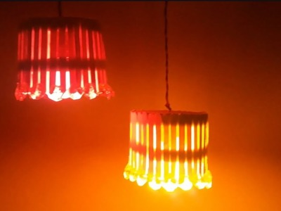 DIY Crafts with Popsticks: Easy Decorative Lamp Shades | Making Craft Stick Lampshade