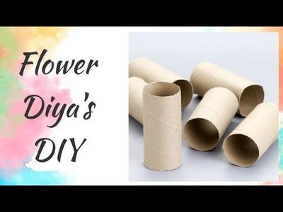 DIY|Diwali|Christmas|Cardboard Tube Flower Diya decoration ideas @home |Craft in 5minutes|