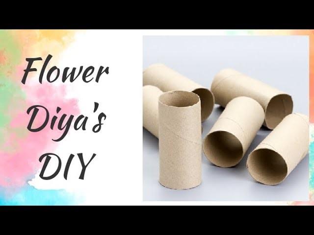 DIY Diwali Christmas Cardboard Tube Flower Diya decoration ideas @home  Craft in 5minutes 