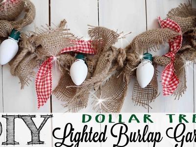 DIY Dollar Tree Lighted Burlap Garland | 2 of 12 Days of Christmas