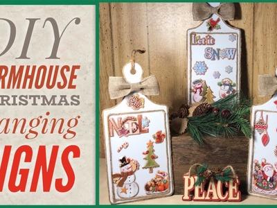 DIY Farmhouse Style Christmas Hanging Decor Signs - Dollar Tree DIY - Let It Snow, Joy & Noel Signs