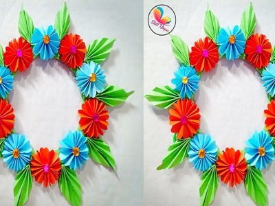 DIY paper flower wall hanging.paper wall decotion idea. paper craft.  DIY hanging flowers