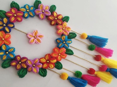 DIY Wall Hanging Out Of Wool. Wool Flower Making. Home Decoration Idea