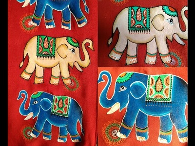 Fabric Painting - How to paint Elephant on Kurti (Long Gown) - step by step Tutorial