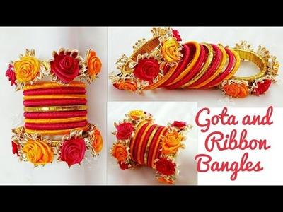 Gota and Ribbon Bangles.Navratri Jewellery.Garba Jewellery.Old Bangles turn into New.Gota Bangles