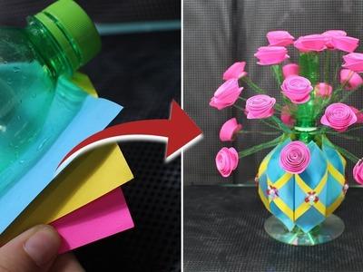 Guldasta.flower vase from plastic bottle & paper flower at home|Best out of waste |DIY Flower pot