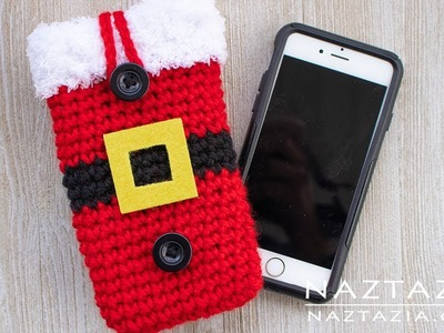 How to Crochet a Santa Claus Cell Phone Case - Christmas DIY by Naztazia