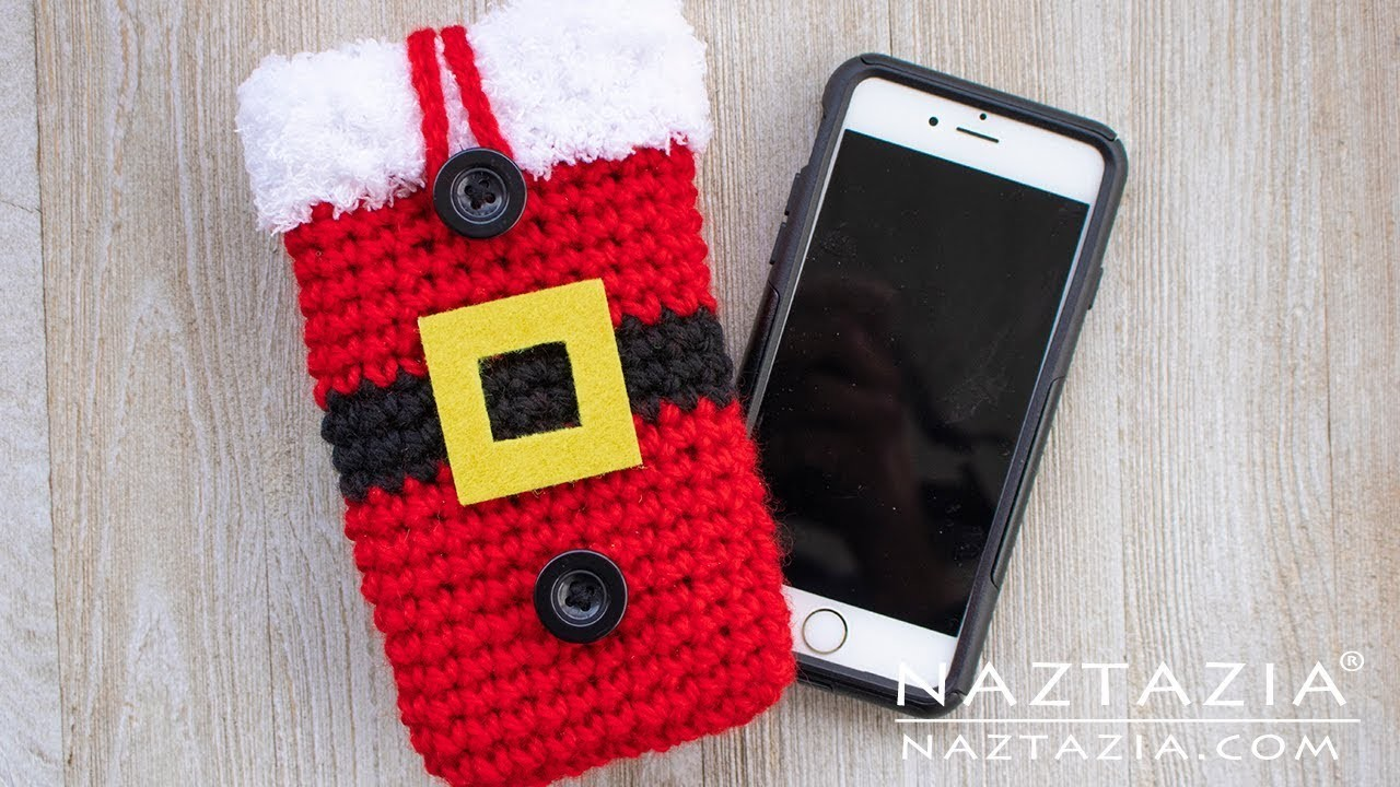 How to Crochet a Santa Claus Cell Phone Case - Christmas DIY by Naztazia