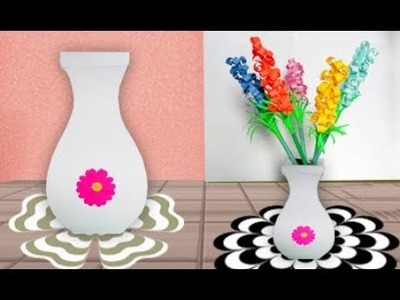 How to make a flower vase using paper | making a flower vase at home