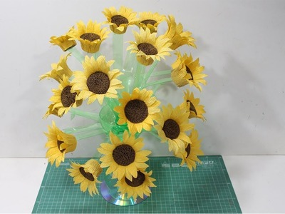 How to make flower vase with plastic bottle & crepe paper - New Idea