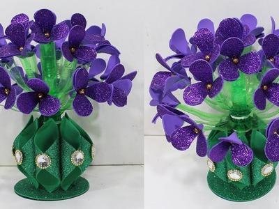 How to make flower vase with plastic bottle & glitter sheet | Guldasta ka design