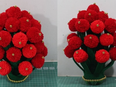 How to make flower vase with wool | Woolen flower making