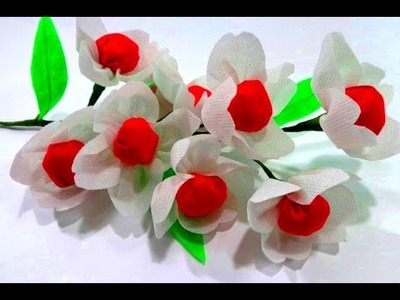 How to Make White Shopping Bag Flower.Best out of waste-easy Fabric Flower.DIY flower making
