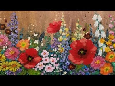Impressionist Flower Garden Acrylic Painting Tutorial LIVE