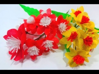 Making Beautiful Red & Yellow Carry bags Flower|| Reuse idea with Carry bags|| Making flower bunches