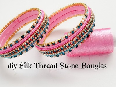 Making Silk Thread Fancy Bangles At Home||Pink color Silk Thread Stone Bangles