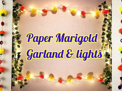 Marigold Paper flower & mirror garland | Diwali home decor