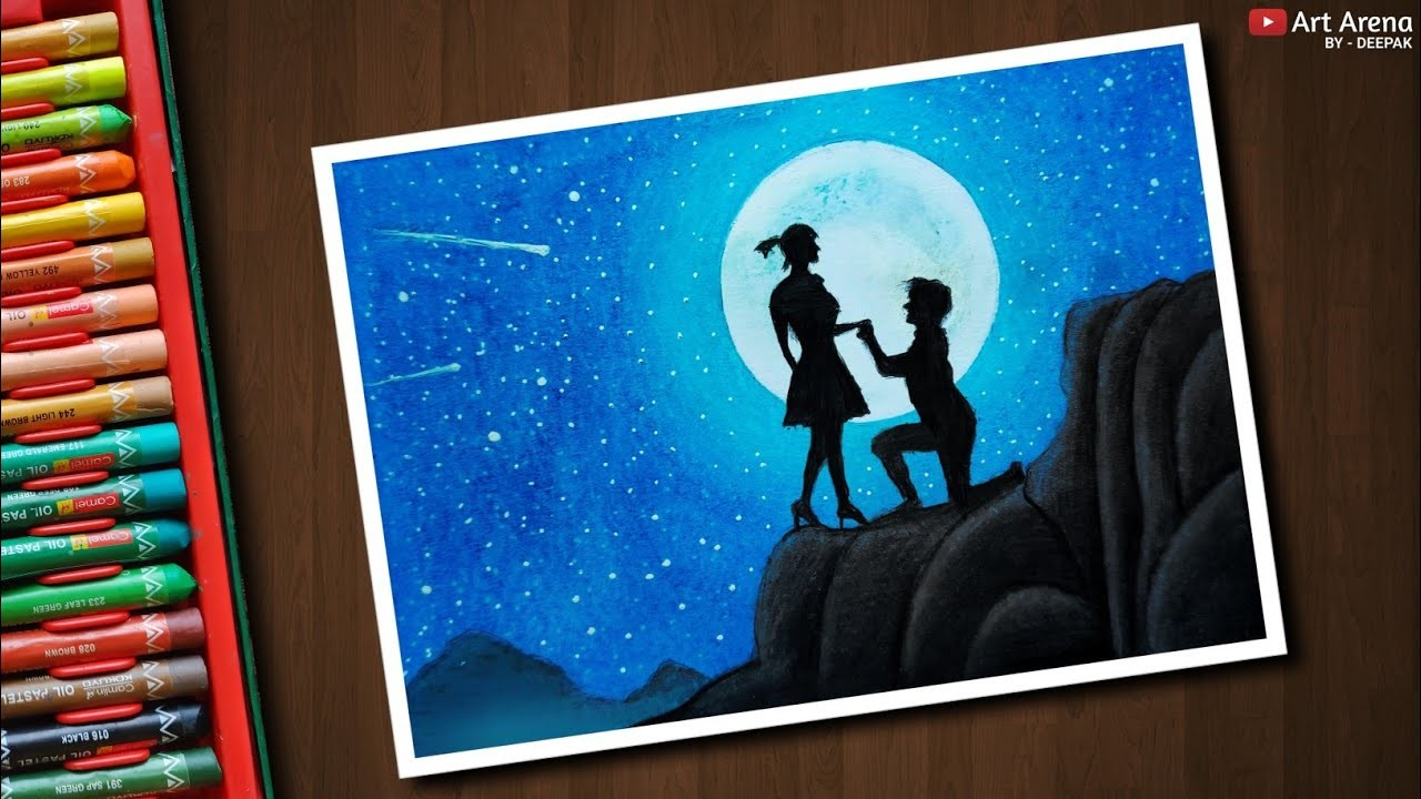 Moonlight Couple Scenery Drawing With Oil Pastels Step By Step