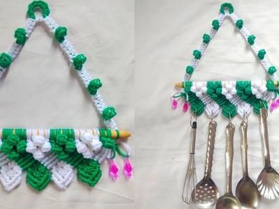 New design of  macrame kitchen ladle.spoon hanger