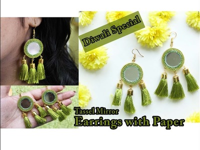 Paper mirror tassel earrings tutorial | Diwali special