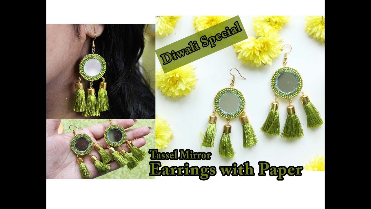 Paper mirror tassel earrings tutorial   Diwali special