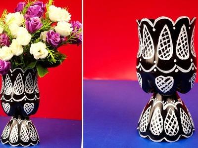 Plastic bottle flower vase craft idea - Plastic bottle recycled crafts ideas at home