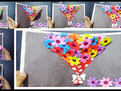 Pop Up Card: 3D card DIY paper craft tutorial east step by step origami