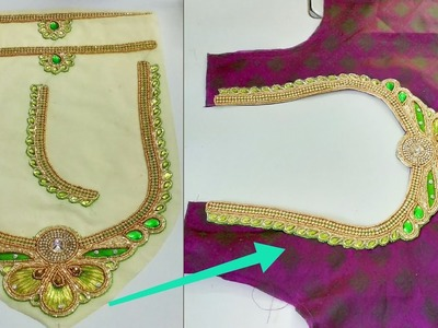 Readymade Patch Work Neck Attachment For Blouse   Designer Blouse Cutting And Stitching
