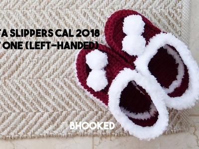 Santa Slippers CAL Part One (Left-handed) - How to Crochet Slippers