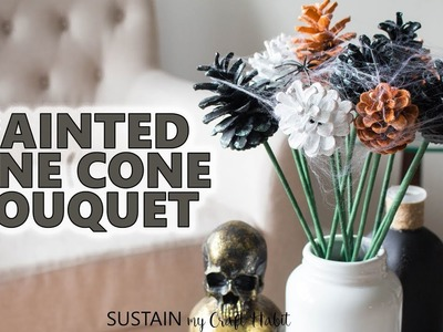 Simple Non-Spooky DIY Decor! Glittering Halloween Pine Cone Flowers Tutorial