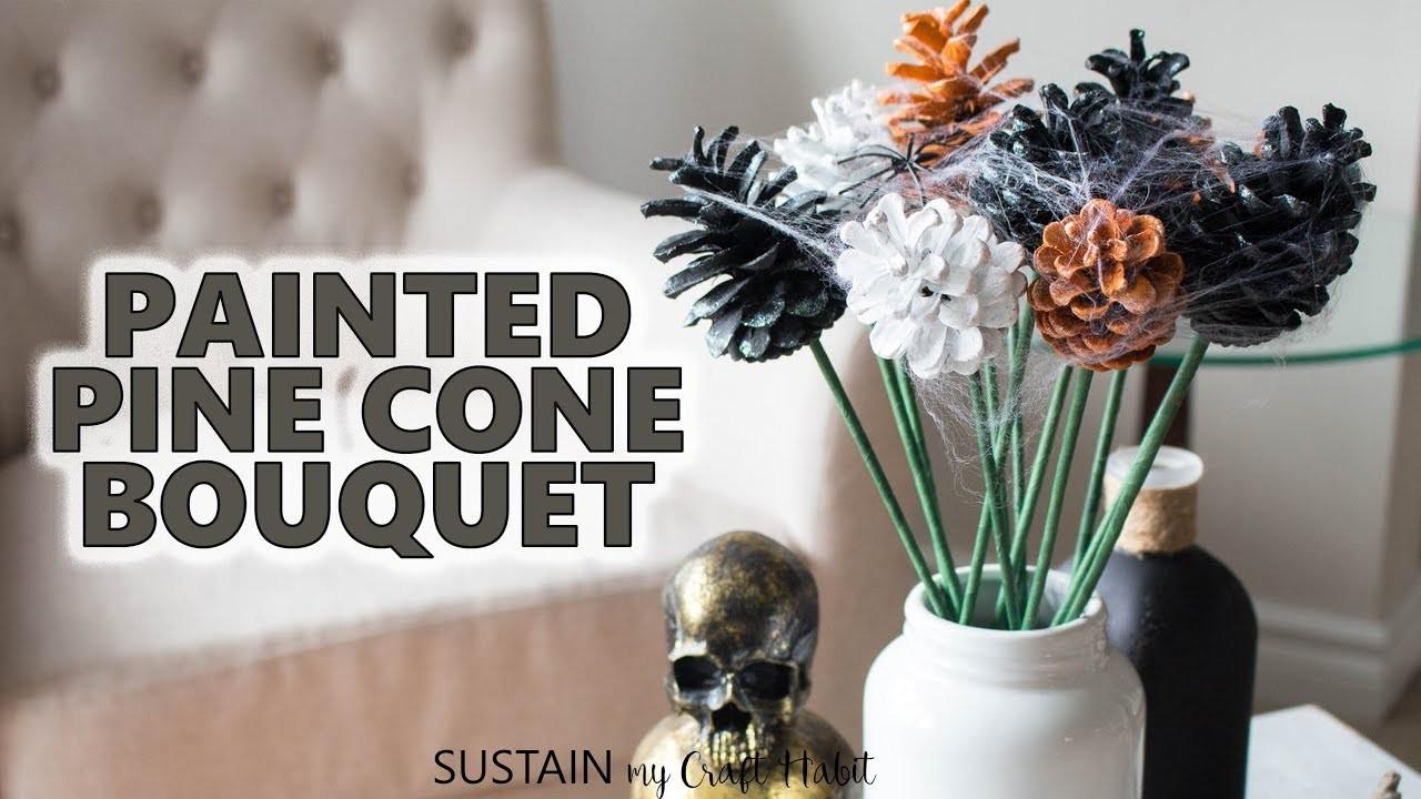 Simple Non-Spooky DIY Decor! Glittering Halloween Pine Cone Flowers Tutorial