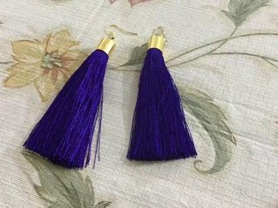 Tassel earrings. How to make silk thread Tassel earrings at home. step by step tutorial