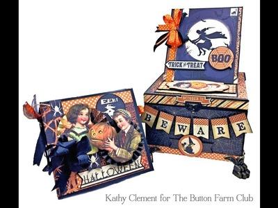 The Button Farm Club Authentique Nightfall Halloween Treat Box and Mini Album Kit