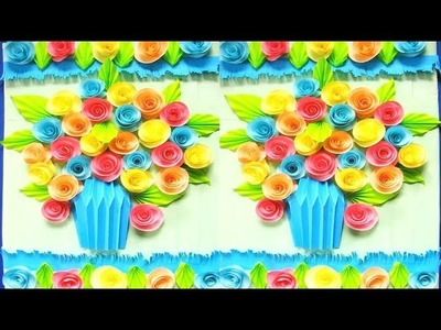 Wall Decoration Ideas | Beautiful Wall Hanging Making at Home | Paper Flower Wall Hanging р62