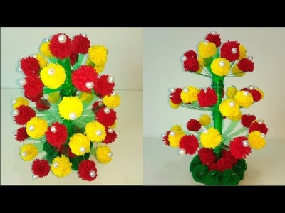 Woolen Guldasta.DIY Wool Flower Pot.Woolen Craft.How to Make Yarn Guldasta.Craft Ideas
