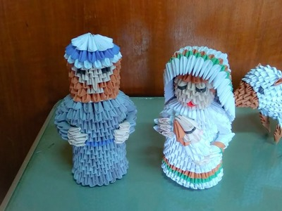 3d origami Maria n baby Jesus tutorial (nativity) easy