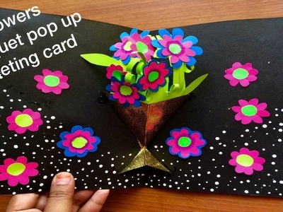 Beautiful valentine's day greeting card ideas simple & easy.flower banquet pop up greeting card