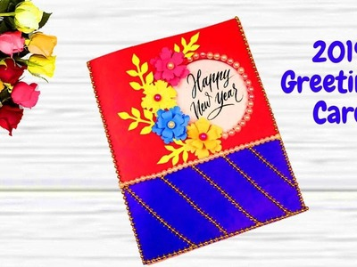 Easy & Beautiful Handmade Happy New Year 2019 Card Idea || New Year Greeting Card Making at Home