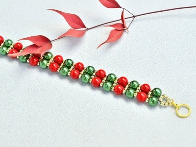 PandaHall Video Tutorial on Christmas Glass Pearl Bracelet
