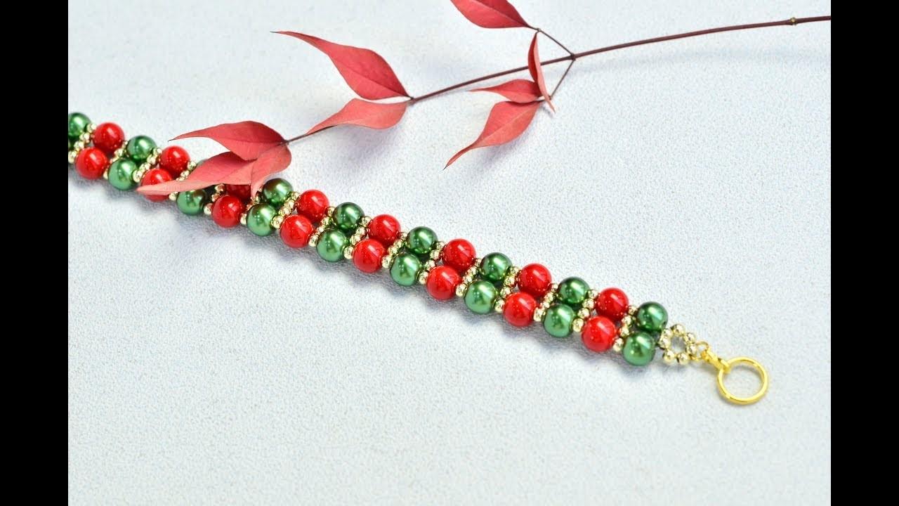 PandaHall Video Tutorial on Christmas Glass Pearl Bracelet