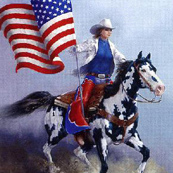 CRAFTS Rodeo Flag Paint Horse Cross Stitch Pattern***LOOK***