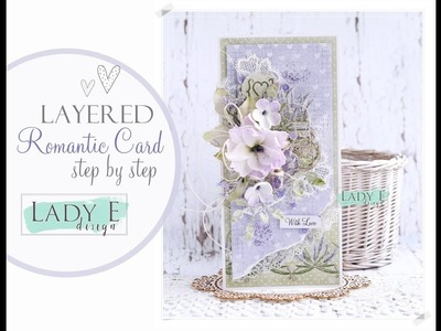 Layered, Romantic, Lavender Card Tutorial with Foamiran Flowers