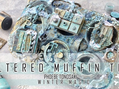 Mixed Media Altered Muffin Tin Step by step tutorial by Phoebe Tonosaki