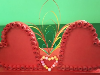 How to make heart shape photo frame with paper||handicraft with paper heart||