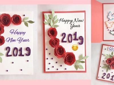 New  year  greeting  card || greeting card idea for New year || easy to make