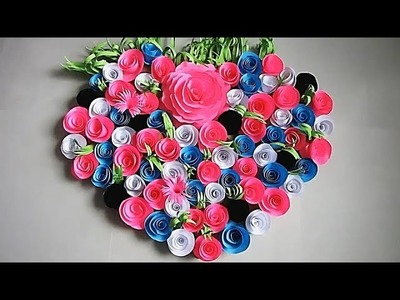 Wall Decoration Ideas | Beautiful Wall Hanging Making at Home | Paper Flower Wall Hanging з8