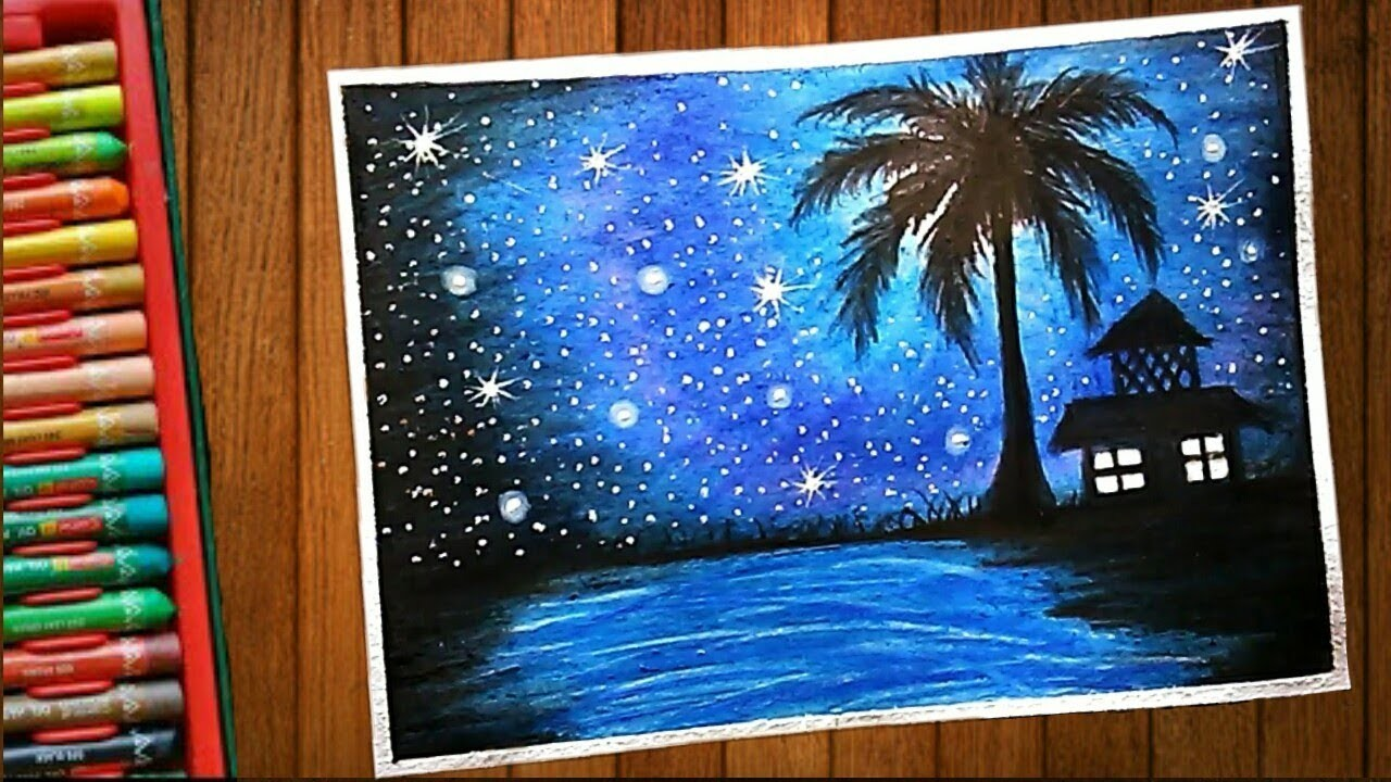 Blazing Night Pond Scenery Drawing With Oil Pastel Step By Step